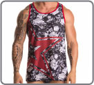Tanktop in a aery and semi-transparent mesh with a black and white floral by a...