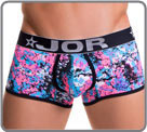 Polyester material printed with a multi-coloured graphic pink/blue/black with a...