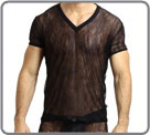 Magnificent and very sexy shirt in net adorned with arabesques which sublimates...