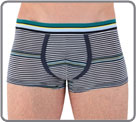 Trunk in soft, light and comfortable cotton with fine classic navy stripes up...
