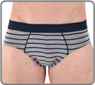 Smart and classic brief in cotton and modal with  navy stripes on a grey and on...