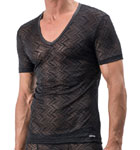 Black transparency, clothing created by this fabric in woven and geometric patterns. A version of the lace, for man.