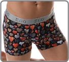 Ultrasoft and cute boxerbrief with its multicoloured hearts with an impression of relief (fabric made in Italy). Microfiber waistband very soft on the skin with logo E.GO. Unlined front pouch.