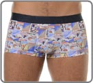 Trunk in a soft and light high coloured material  , with vintage patterns made of advertisements for French ski resorts. Microfiber waistband with incrusted logo all around. Unlined front pouch.