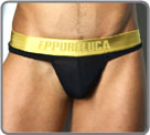 Thong with pouch in a very soft and fluid material, slightly transparent when a...