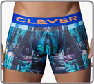 Boxer for expert men in style. It is made on a printed fabric with an abstract...