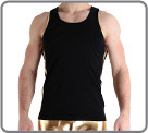 Tank top adorned with armholes, and on the sides of fabric metal borders Logo...