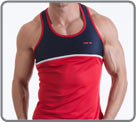Semi-fitted tank made with quick dry fabric. Contrasted in neon with the iconic...