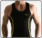 Semi-fitted tank back swimmer made of quick dry mesh sport. Edgings of colour,...
