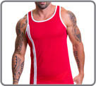 Sport style tank in micro aery and semi transparent mesh. Double white strip on...