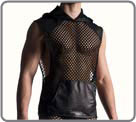 A very wide mesh from a material of quality, extensible. Satin black part. tank...