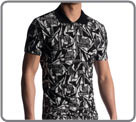 Polo t-shirt. A powerful black-white graphic pattern knitted in Premium jersey...