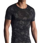A camouflage print on an ultra-thin black jersey with thin knits. An elegant, manly men's series.