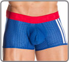 Mesh material largely equipped with small holes, perfect for the sport...