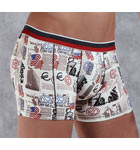 Based on a cotton and modal material, printed newspaper and American flag. Lined at the front.
