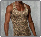 Camouflage print on cotton and modal, a very masculine classic...