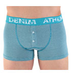 Set of 3 boxerbriefs (1 plain seagreen and 1 striped seagreen) made of a stretch cotton very comfortable. Open pouch with two buttons. Waistband with DENIM ATHENA vintage effect logo. Unlined front pouch.