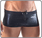 Swim trunk with satin look. DrawString...