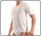 Cotton double mercerized (to make cotton more lustrous). V neck...