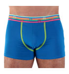 Extremely comfortable thanks to majority cotton, this boxerbrief will delight all the lovers of classic cut underwears but with tonic and fashion colours. Contrasted pouch border and striped rubber waistband. Lined front pouch.