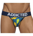 A camouflage pattern revisited in new colors. Fine and extensible microfiber material. Wide belt with big ADDICTED logo centered. Outlines of matching colored thighs.