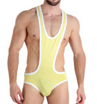 Cotton body briefs, original and airy cup. White borders. Opening at the crotch by snaps. Unlined front pouch.