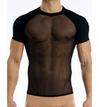 Tee-shirt très sexy en résille qui sublime votre peau mais qui sait rester confortable grâce à sa matière douce et extensible. Manches doublées opaques