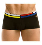 Low-waisted boxer in cotton, plain color, belt with motives Mondrian. Small logo engraved modus vivendi sewn under the belt quoted left.