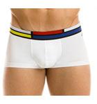 Boxe taille basse en coton couleur unie, ceinture avec  motifs Mondrian. Petit logo gravé Modus Vivendi cousu sous la ceinture coté gauche.