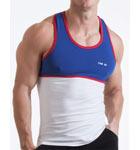Débardeur semi-ajusté, dos nageur, bi-colore, buste mis en valeur avec bordures de couleur contrastée. Logo imprimé haute fréquence.