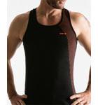 Débardeur semi-ajusté 100% coton avec dos nageur et dégradé stylé de fines rayures contrastées sur le côté gauche et dans le dos.