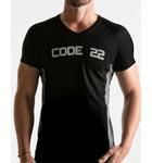 T-shirt semi-ajusté fabriqué en 100% coton. Manches courtes, imprimé à fines rayures sur les côtés et logo en haute fréquence.