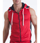Veste zippée bi-colore semi-ajustée sans manches avec capuche non amovible. Cordon de serrage pour ajustement de la capuche. Logo sur l'avant gauche.