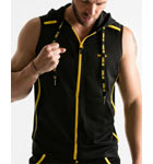 Sleeveless semi-fitted zipped jacket with non removable hood. Made of quick dry sport mesh. Contrasting coloured piping, clamping cord for hood adjustment.