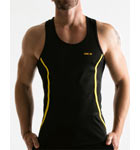 Semi-fitted tank back swimmer made of quick dry mesh sport. Edgings of contrasting colour, logo on the left front.