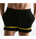 Semi-adjusted shorts made of quick dry sport mesh. In contrasting color. Deep lateral pockets with a large belt for more comfort and support during activities.