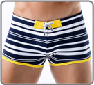 Low waist bath boxerbriefs made of high-end fabric. Striped Navy and white, and...