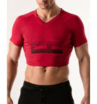 100% cotton short T-shirt. Were you looking for originality? Here is a very short V-neck T-shirt to make your abs appear. Large print 22 denoting the brand.