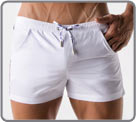 Low-cut bath shorts made from high-end fabric. Sporty look, thin colored on the...
