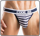 Low-waisted mesh fabric Jockstrap with super soft elastic belt, white and navy...